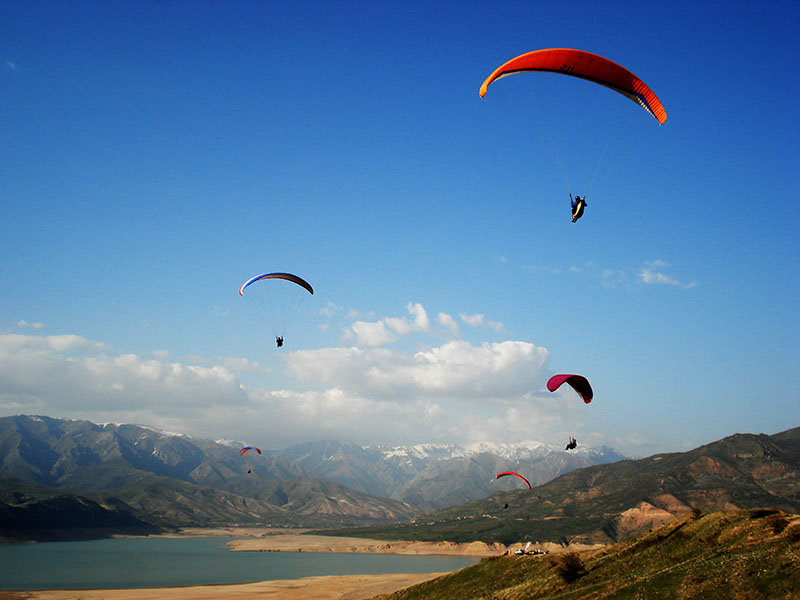 Paragliders Base near Charvak Lake